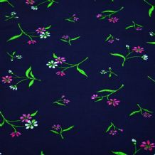 Pink Green Flowers on Navy - 100% Viscose Print
